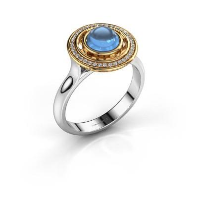 Ring Salima 585 witgoud blauw topaas 6 mm