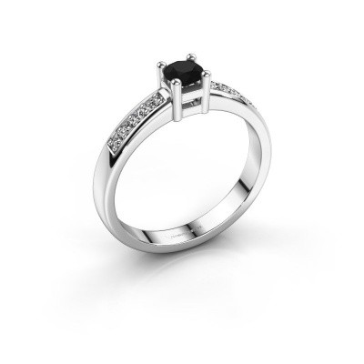 Foto van Verlovingsring Eline 2 585 witgoud zwarte diamant 0.36 crt