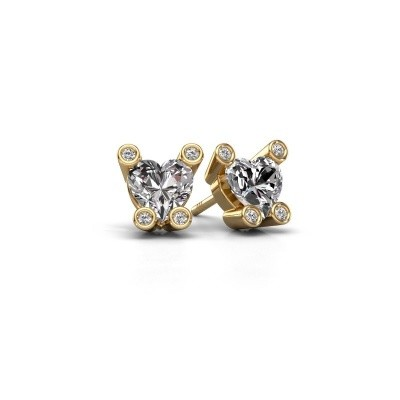 Oorstekers Cornelia Heart 585 goud zirkonia 6 mm