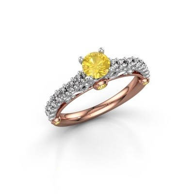 Foto van Verlovingsring Shaunda 585 rosé goud gele saffier 5 mm