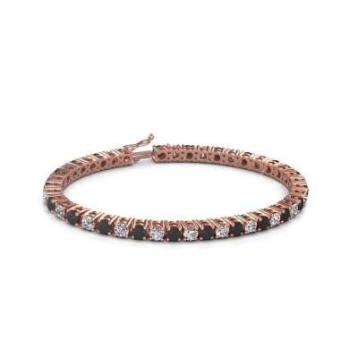 Foto van Tennisarmband Karin 375 rosé goud zwarte diamant 11.85 crt