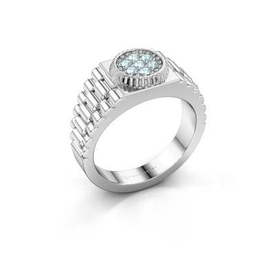 Foto van Rolex stijl ring Nout 585 witgoud aquamarijn 2 mm