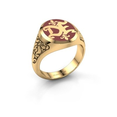 Monogram ring Brian Emaille 585 gold red enamel