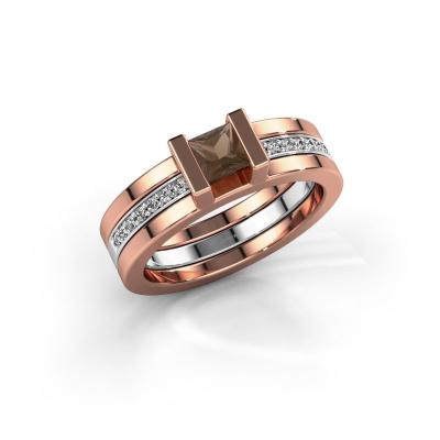 Foto van Ring Desire 585 rosé goud rookkwarts 4 mm