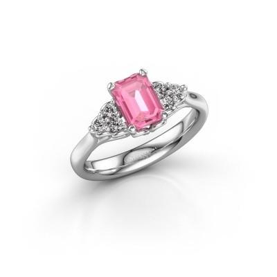 Foto van Aanzoeksring Myrna EME 950 platina roze saffier 7x5 mm