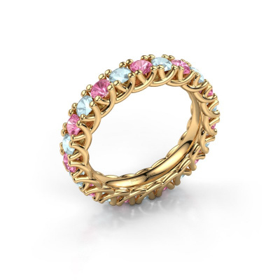 Ring Fenna 585 goud roze saffier 3 mm
