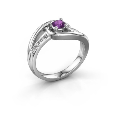 Ring Aylin 585 witgoud amethist 4 mm