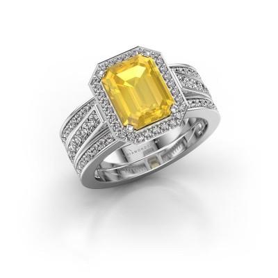 Foto van Ring Dodie 3 585 witgoud gele saffier 9x7 mm