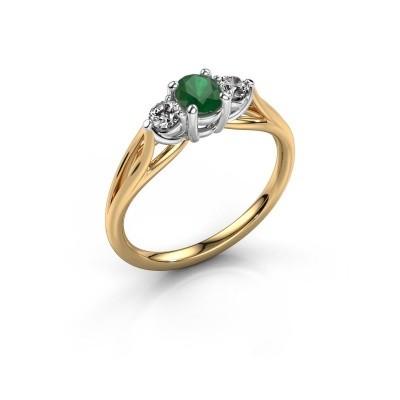 Verlovingsring Amie OVL 585 goud smaragd 7x5 mm