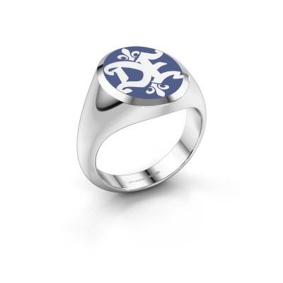 Foto van Monogram ring Xandro Emaille 950 platina blauwe emaille
