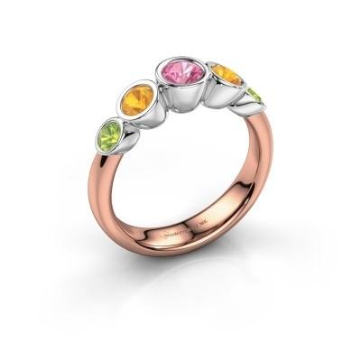 Ring Lizz 585 rosé goud roze saffier 4 mm