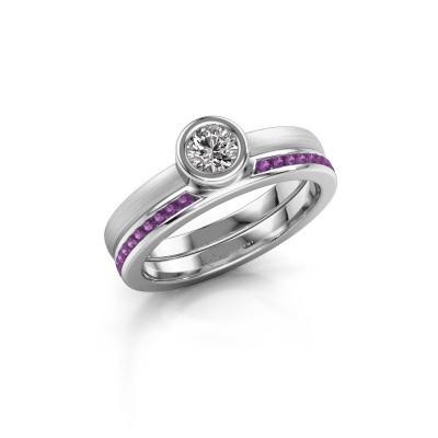 Ring Cara 585 white gold amethyst 4 mm