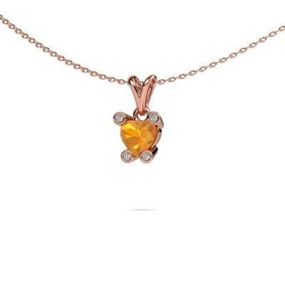 Foto van Ketting Cornelia Heart 375 rosé goud citrien 6 mm