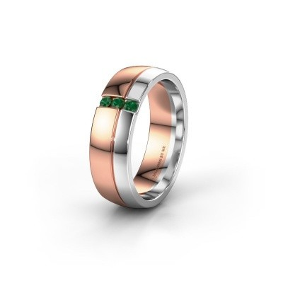 Wedding ring WH0223L56A 585 rose gold emerald ±0.24x0.07 in