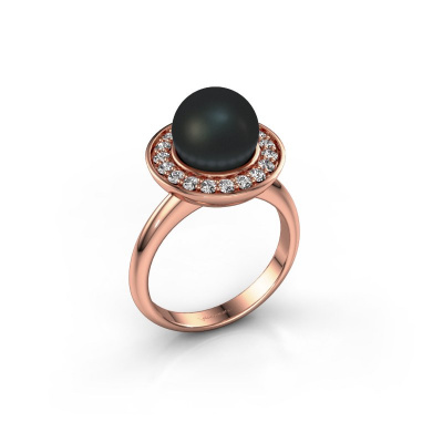 Ring Sarah 585 rosé goud zwarte parel 9 mm