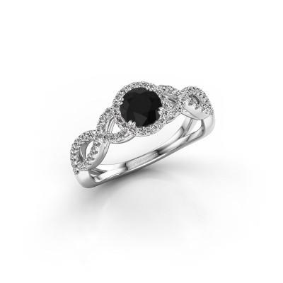 Foto van Verlovingsring Casandra 925 zilver zwarte diamant 0.920 crt