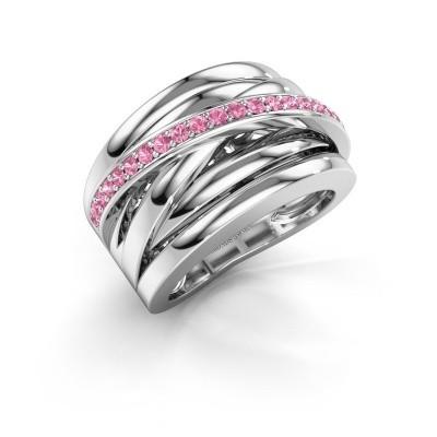 Foto van Ring Clair 1 925 zilver roze saffier 1.5 mm