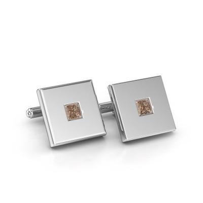 Foto van Manchetknopen Givanti 925 zilver bruine diamant 0.80 crt