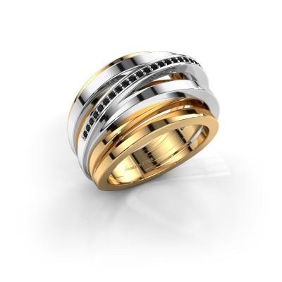 Ring Swinda 585 goud zwarte diamant 0.15 crt