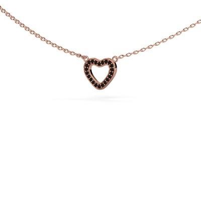 Foto van Hanger Heart 4 375 rosé goud zwarte diamant 0.066 crt