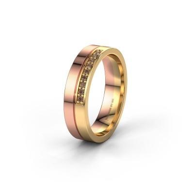 Trouwring WH0213L15AP 585 rosé goud bruine diamant ±5x1.7 mm