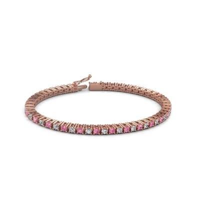 Foto van Tennisarmband Petra 375 rosé goud roze saffier 3 mm