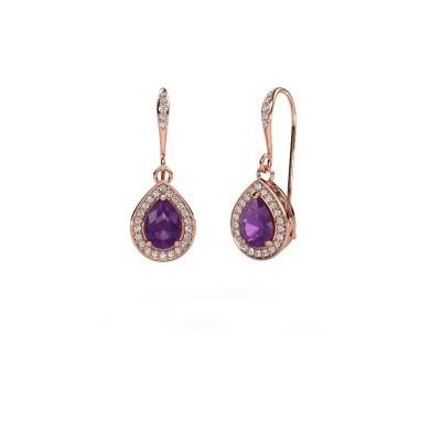 Picture of Drop earrings Beverlee 2 375 rose gold amethyst 7x5 mm