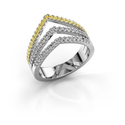 Ring Kendra 585 white gold yellow sapphire 1.2 mm