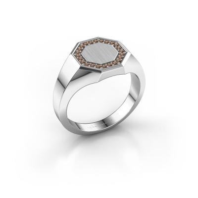 Heren ring Floris Octa 2 375 witgoud bruine diamant 0.18 crt