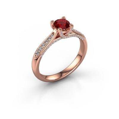 Verlovingsring Mia 3 375 rosé goud robijn 5 mm