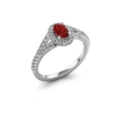 Belofte ring Pamela OVL 925 zilver robijn 7x5 mm