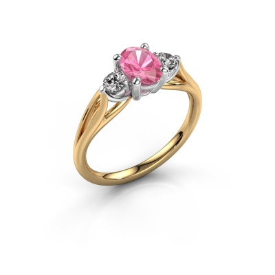 Picture of Engagement ring Amie OVL 585 gold pink sapphire 7x5 mm