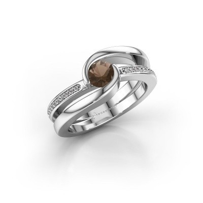 Picture of Ring Xenia 2 375 white gold smokey quartz 5 mm