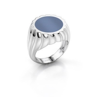 Zegelring Mano 375 witgoud licht blauwe lagensteen 13 mm