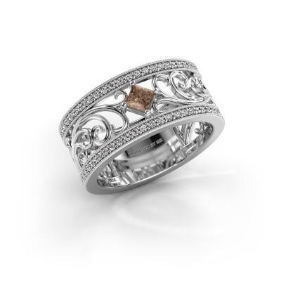 Ring Danae 585 witgoud bruine diamant 0.58 crt