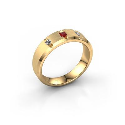 Foto van Mannen ring Justin 375 goud robijn 2.5 mm