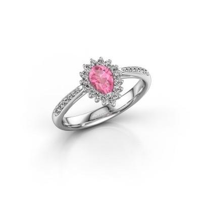 Foto van Verlovingsring Chere 2 585 witgoud roze saffier 6x4 mm