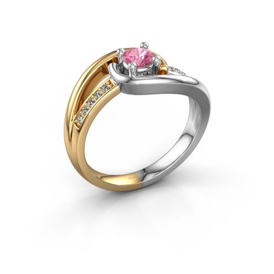 Ring Aylin 585 goud roze saffier 4 mm