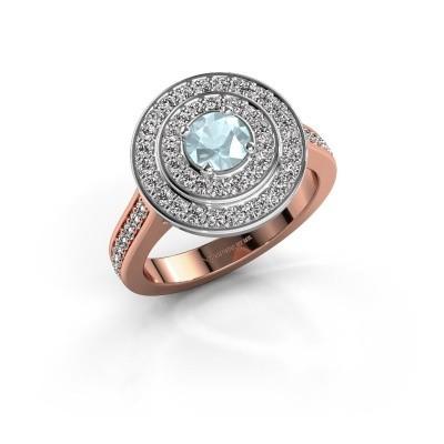 Ring Alecia 2 585 rosé goud aquamarijn 5 mm