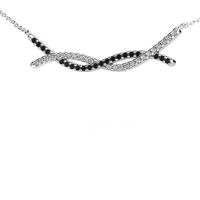Bar ketting Breanne 585 witgoud zwarte diamant 0.369 crt