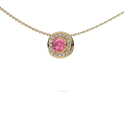 Ketting Carolina 585 goud roze saffier 5 mm