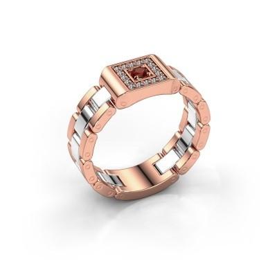 Foto van Rolex stijl ring Giel 585 rosé goud granaat 2.7 mm