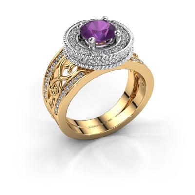 Ring Joy 585 goud amethist 6.5 mm