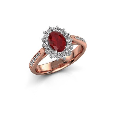 Verlovingsring Margien 2 585 rosé goud robijn 7x5 mm