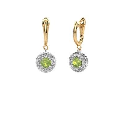 Drop earrings Ninette 1 585 white gold peridot 5 mm