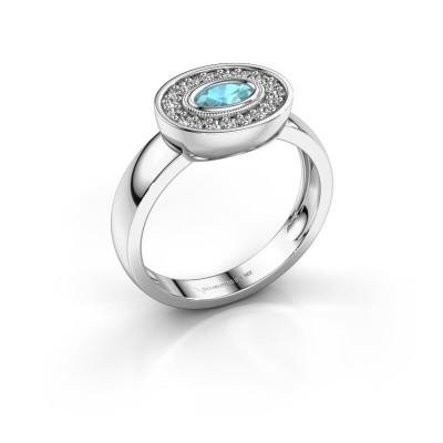 Ring Azra 585 Weißgold Blau Topas 5x3 mm