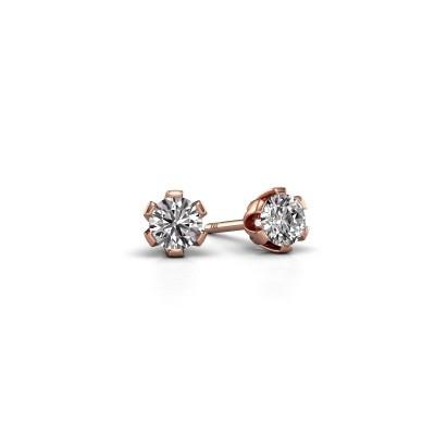 Foto van Oorstekers Julia 375 rosé goud diamant 0.25 crt