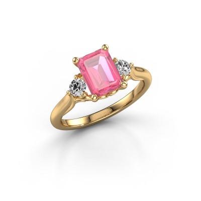 Foto van Verlovingsring Laurian EME 585 goud roze saffier 8x6 mm