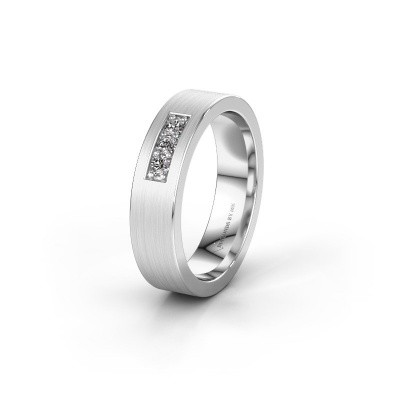 Wedding ring WH0110L15BM 375 white gold zirconia ±5x2 mm