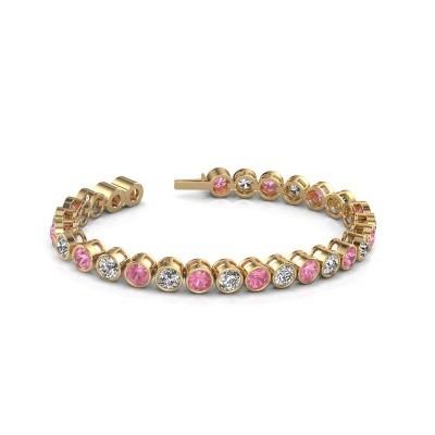 Foto van Tennisarmband Mandi 375 goud roze saffier 5 mm